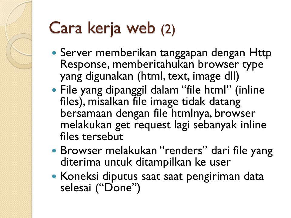 Cara kerja web (2) Server memberikan tanggapan dengan Http Response, memberitahukan browser type yang digunakan (html, text, image dll) File yang dipa