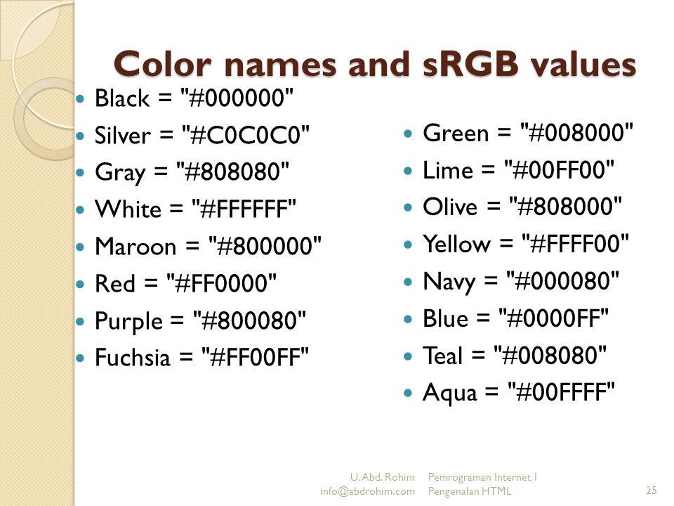 U. Abd. Rohim info@abdrohim.com Pemrograman Internet I Pengenalan HTML25 Color names and sRGB values Black =