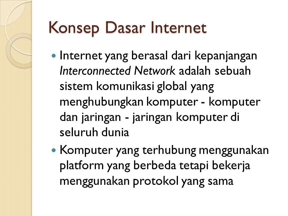 Konsep Dasar Internet Internet yang berasal dari kepanjangan Interconnected Network adalah sebuah sistem komunikasi global yang menghubungkan komputer