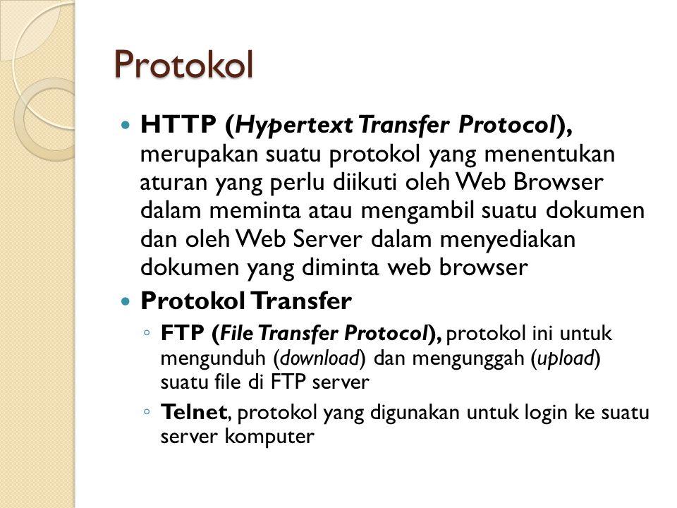Protokol HTTP (Hypertext Transfer Protocol), merupakan suatu protokol yang menentukan aturan yang perlu diikuti oleh Web Browser dalam meminta atau me