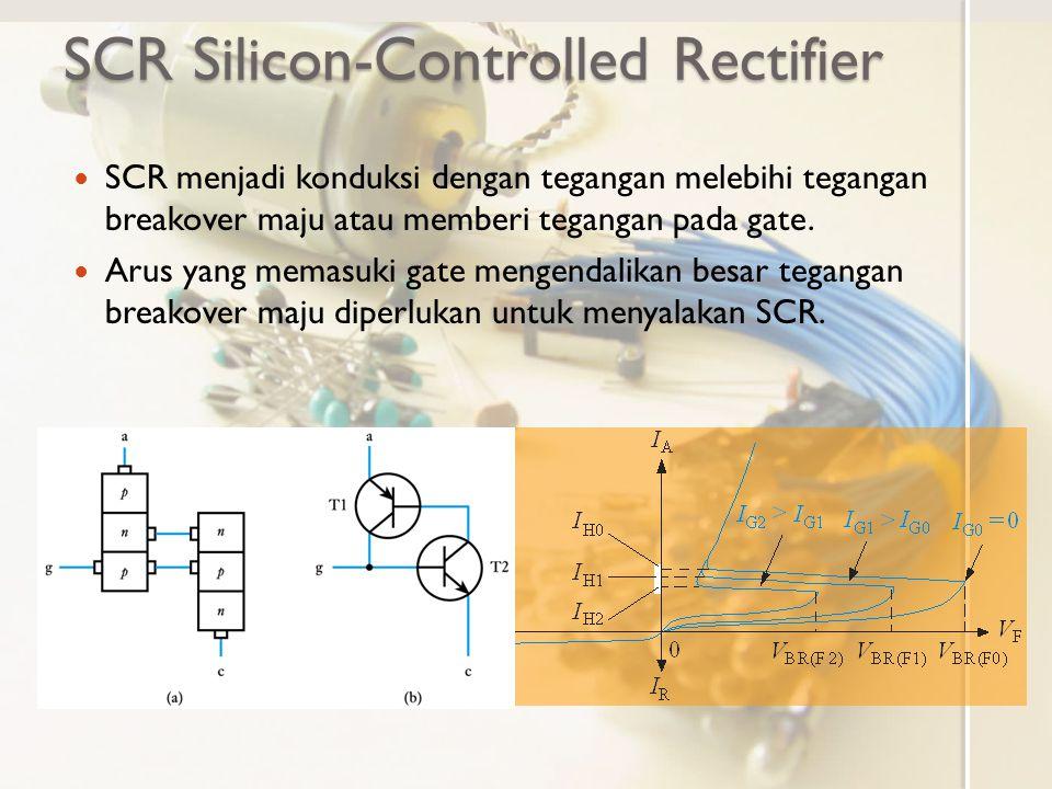 SCR menjadi konduksi dengan tegangan melebihi tegangan breakover maju atau memberi tegangan pada gate. Arus yang memasuki gate mengendalikan besar teg