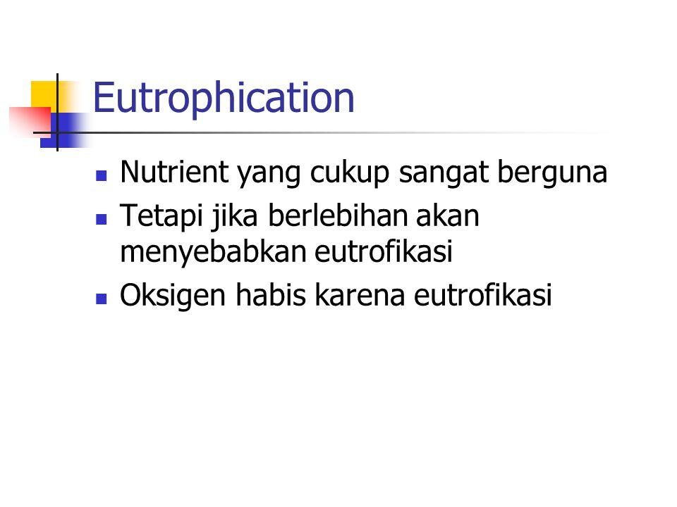 Eutrophication Nutrient yang cukup sangat berguna Tetapi jika berlebihan akan menyebabkan eutrofikasi Oksigen habis karena eutrofikasi