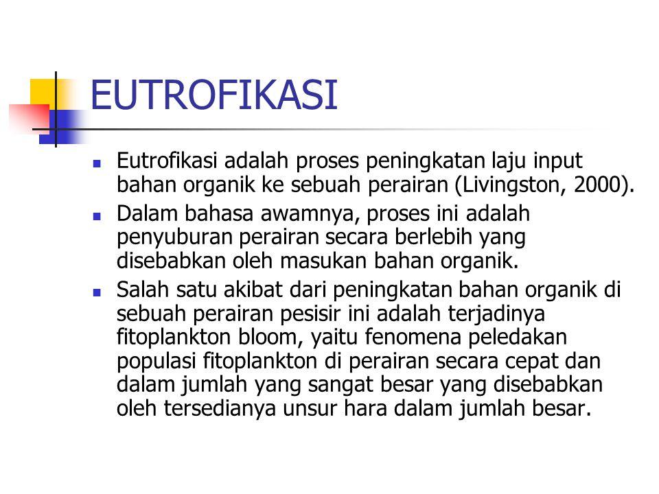 EUTROFIKASI Eutrofikasi adalah proses peningkatan laju input bahan organik ke sebuah perairan (Livingston, 2000). Dalam bahasa awamnya, proses ini ada