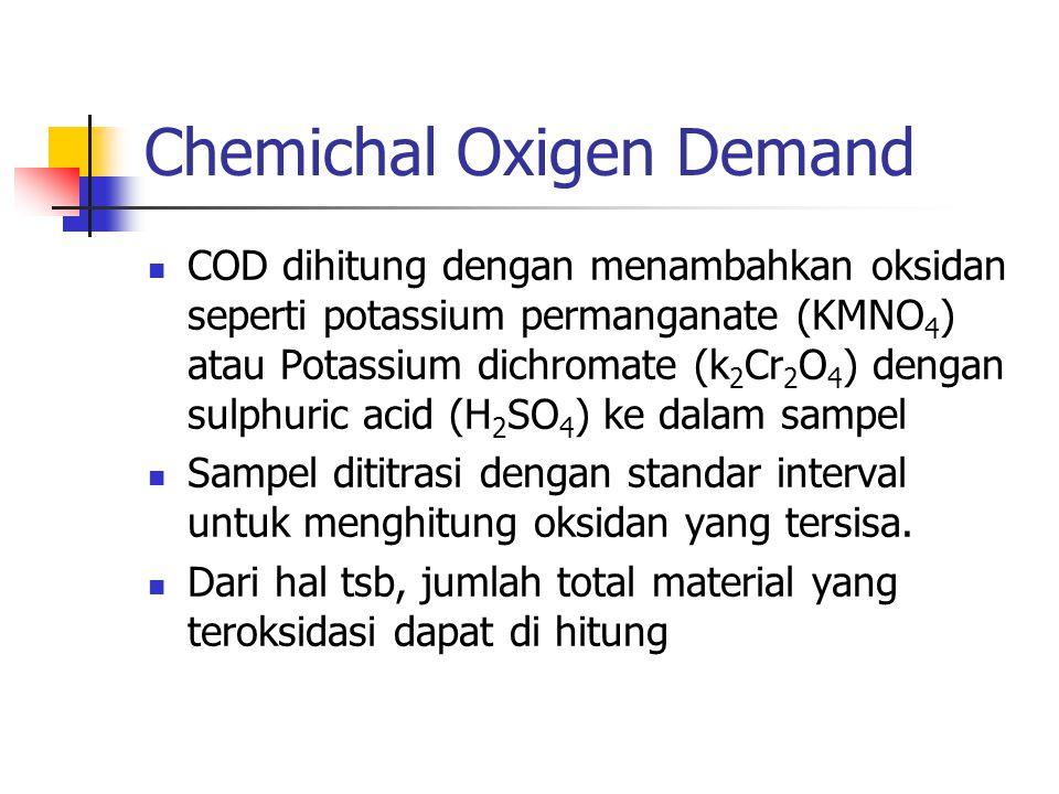 Chemichal Oxigen Demand COD dihitung dengan menambahkan oksidan seperti potassium permanganate (KMNO 4 ) atau Potassium dichromate (k 2 Cr 2 O 4 ) den