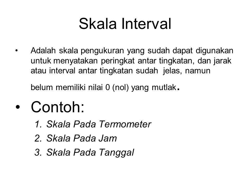 Skala Interval Adalah skala pengukuran yang sudah dapat digunakan untuk menyatakan peringkat antar tingkatan, dan jarak atau interval antar tingkatan