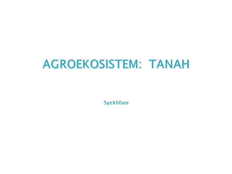 AGROEKOSISTEM: TANAH Syekhfani