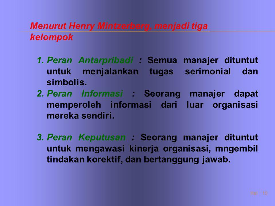 Hal : 15 Menurut Henry Mintzerberg, menjadi tiga kelompok 1.Peran Antarpribadi : Semua manajer dituntut untuk menjalankan tugas serimonial dan simboli