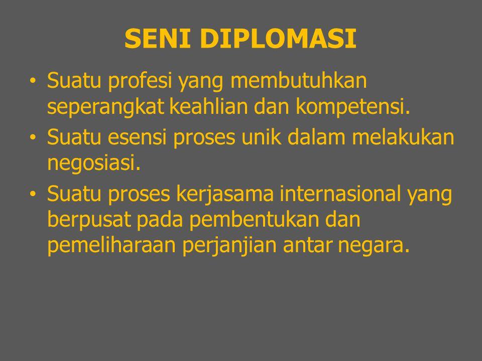 SENI DIPLOMASI Suatu profesi yang membutuhkan seperangkat keahlian dan kompetensi. Suatu esensi proses unik dalam melakukan negosiasi. Suatu proses ke