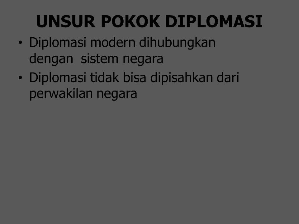 UNSUR POKOK DIPLOMASI Diplomasi modern dihubungkan dengan sistem negara Diplomasi tidak bisa dipisahkan dari perwakilan negara