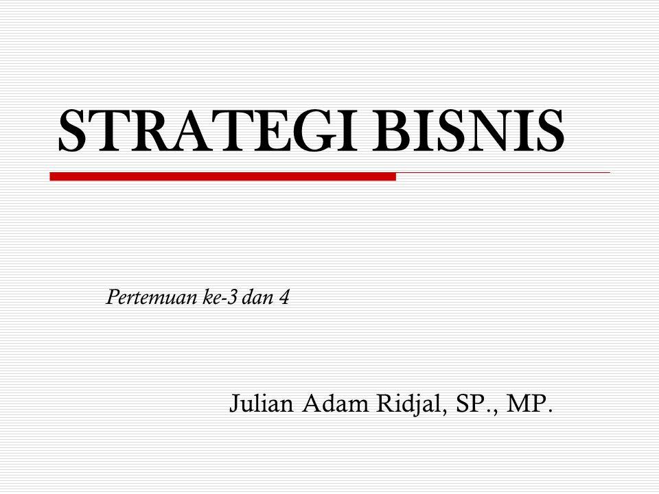 STRATEGI BISNIS Pertemuan ke-3 dan 4 Julian Adam Ridjal, SP., MP.