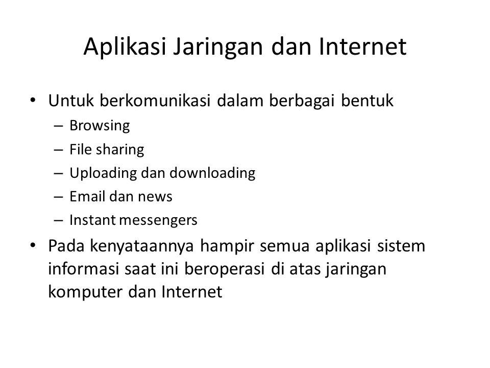 Aplikasi Jaringan dan Internet Untuk berkomunikasi dalam berbagai bentuk – Browsing – File sharing – Uploading dan downloading – Email dan news – Inst
