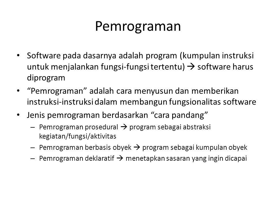 """Pemrograman Software pada dasarnya adalah program (kumpulan instruksi untuk menjalankan fungsi-fungsi tertentu)  software harus diprogram """"Pemrograma"""