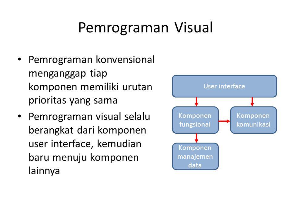 Pemrograman Visual Pemrograman konvensional menganggap tiap komponen memiliki urutan prioritas yang sama Pemrograman visual selalu berangkat dari komp