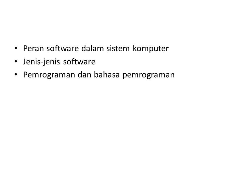 Posisi dan Peran Software Hardware System-level software Application-level software Pemakai Fungsional untuk bidang tertentu Pengatur kerja hardware Eksekutor perintah