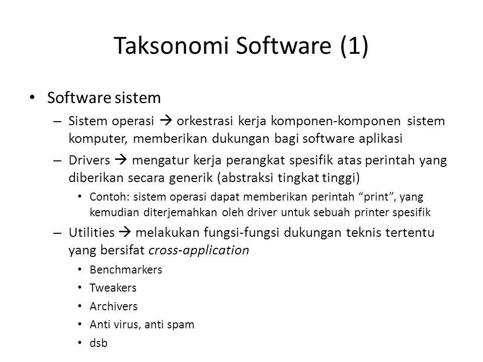 Taksonomi Software (1) Software sistem – Sistem operasi  orkestrasi kerja komponen-komponen sistem komputer, memberikan dukungan bagi software aplika