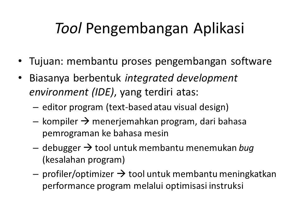 Tool Pengembangan Aplikasi Tujuan: membantu proses pengembangan software Biasanya berbentuk integrated development environment (IDE), yang terdiri ata