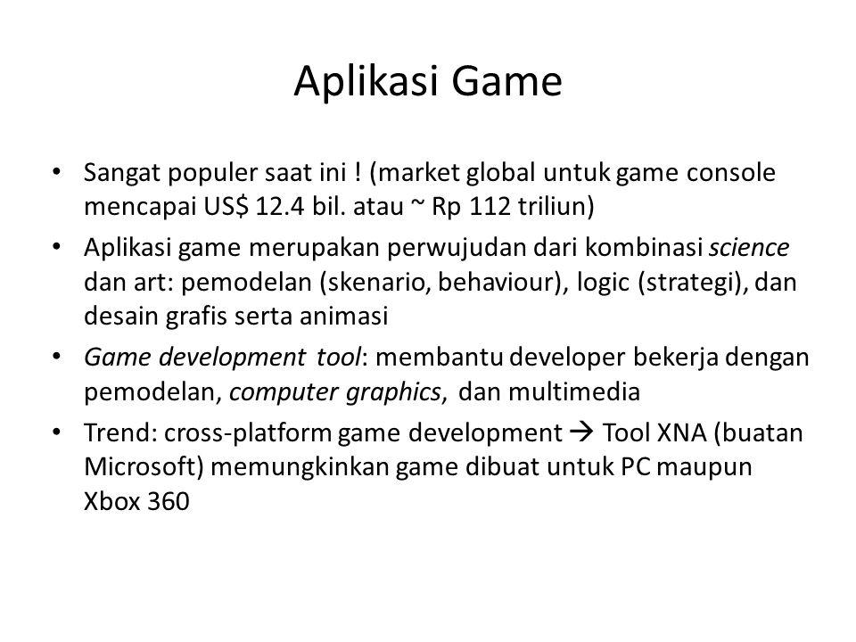 Aplikasi Game Sangat populer saat ini ! (market global untuk game console mencapai US$ 12.4 bil. atau ~ Rp 112 triliun) Aplikasi game merupakan perwuj