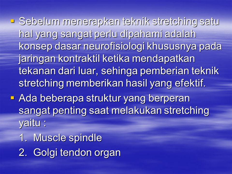 2.Sebelum Stretching a.Pertimbangkan jenis teknik stertching yang tepat sesuai dengan kondisi pasien.