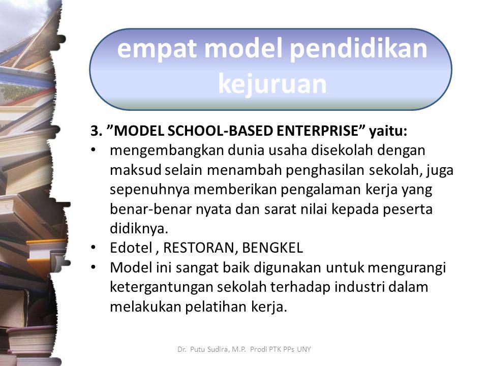 """empat model pendidikan kejuruan 3. """"MODEL SCHOOL-BASED ENTERPRISE"""" yaitu: mengembangkan dunia usaha disekolah dengan maksud selain menambah penghasila"""