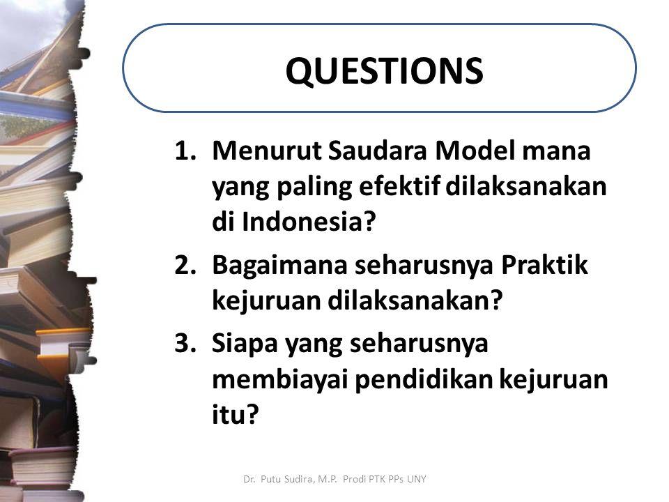 QUESTIONS 1.Menurut Saudara Model mana yang paling efektif dilaksanakan di Indonesia? 2.Bagaimana seharusnya Praktik kejuruan dilaksanakan? 3.Siapa ya