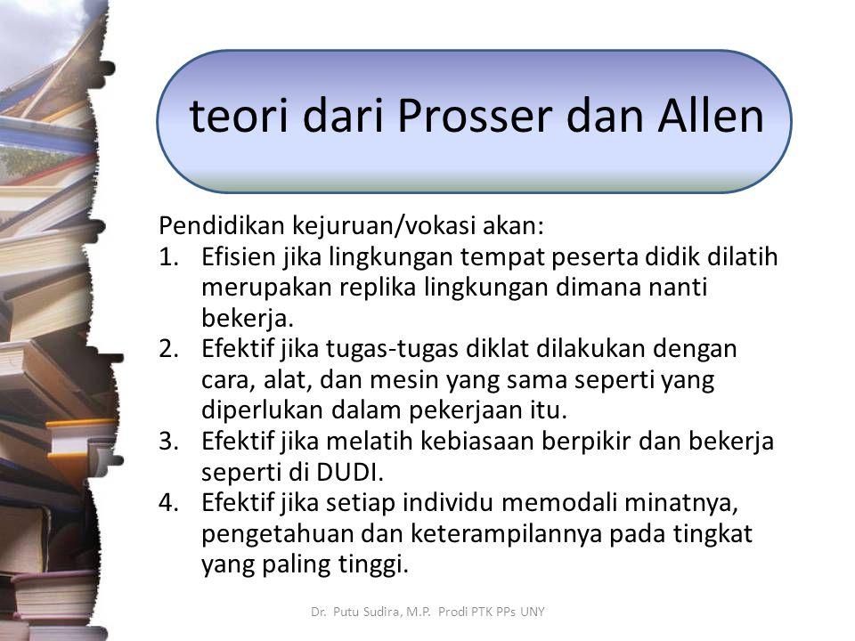 teori dari Prosser dan Allen Pendidikan kejuruan/vokasi akan: 1.Efisien jika lingkungan tempat peserta didik dilatih merupakan replika lingkungan dima
