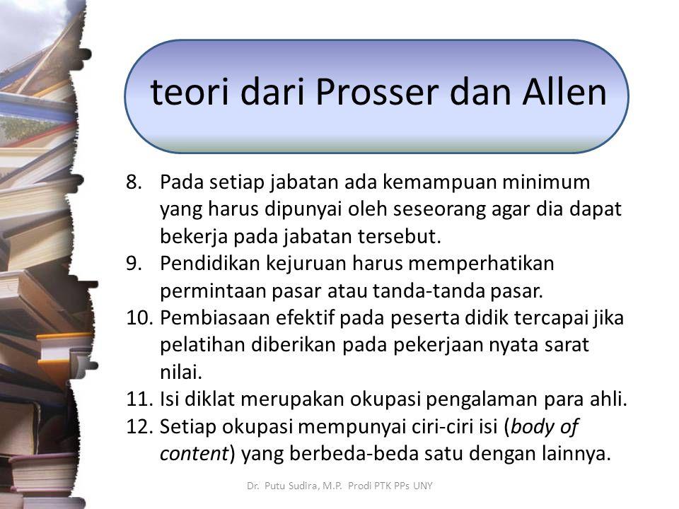 teori dari Prosser dan Allen 8.Pada setiap jabatan ada kemampuan minimum yang harus dipunyai oleh seseorang agar dia dapat bekerja pada jabatan terseb