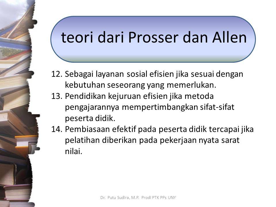 teori dari Prosser dan Allen 12.Sebagai layanan sosial efisien jika sesuai dengan kebutuhan seseorang yang memerlukan. 13.Pendidikan kejuruan efisien