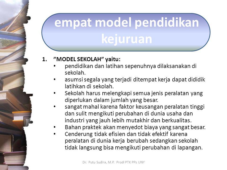 "empat model pendidikan kejuruan 1.""MODEL SEKOLAH"" yaitu: pendidikan dan latihan sepenuhnya dilaksanakan di sekolah. asumsi segala yang terjadi ditempa"