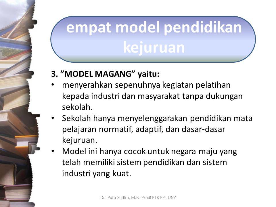 "empat model pendidikan kejuruan 3. ""MODEL MAGANG"" yaitu: menyerahkan sepenuhnya kegiatan pelatihan kepada industri dan masyarakat tanpa dukungan sekol"