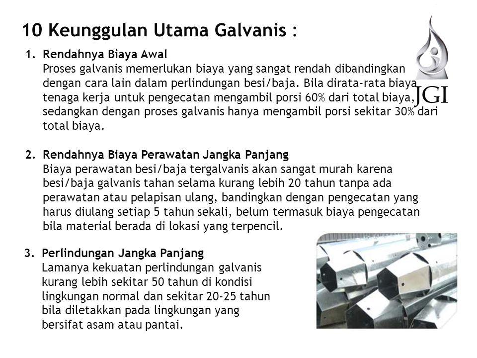 JGI 10 Keunggulan Utama Galvanis : (lanjutan) 4.Kepastian Ketebalan Lapisan Proses galvanis adalah proses kimia dan metalurgi, sehingga ketebalan lapisan yang terbentuk akan sangat tergantung dari mutu baja yangakan digalvanis, sehingga ketebalan lapisan tidak akan melampaui batas atas atau batas bawah standar internasional yang dipakai seperti ISO dan ASTM.