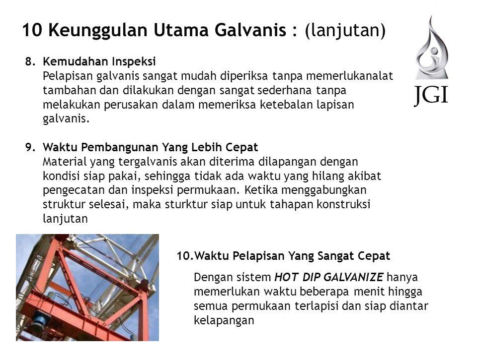 JGI 10 Keunggulan Utama Galvanis : (lanjutan) 8.Kemudahan Inspeksi Pelapisan galvanis sangat mudah diperiksa tanpa memerlukanalat tambahan dan dilakuk