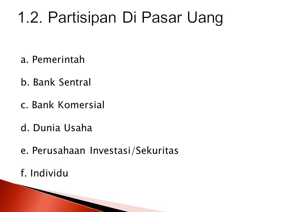 a. Pemerintah b. Bank Sentral c. Bank Komersial d. Dunia Usaha e. Perusahaan Investasi/Sekuritas f. Individu