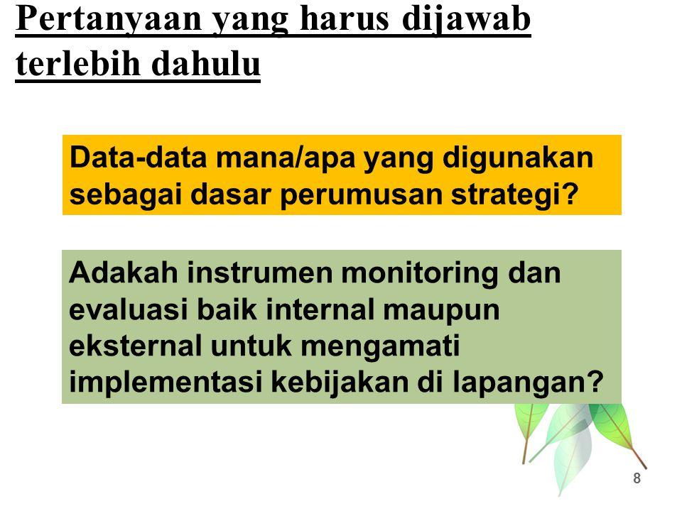 Pertanyaan yang harus dijawab terlebih dahulu 8 Adakah instrumen monitoring dan evaluasi baik internal maupun eksternal untuk mengamati implementasi k