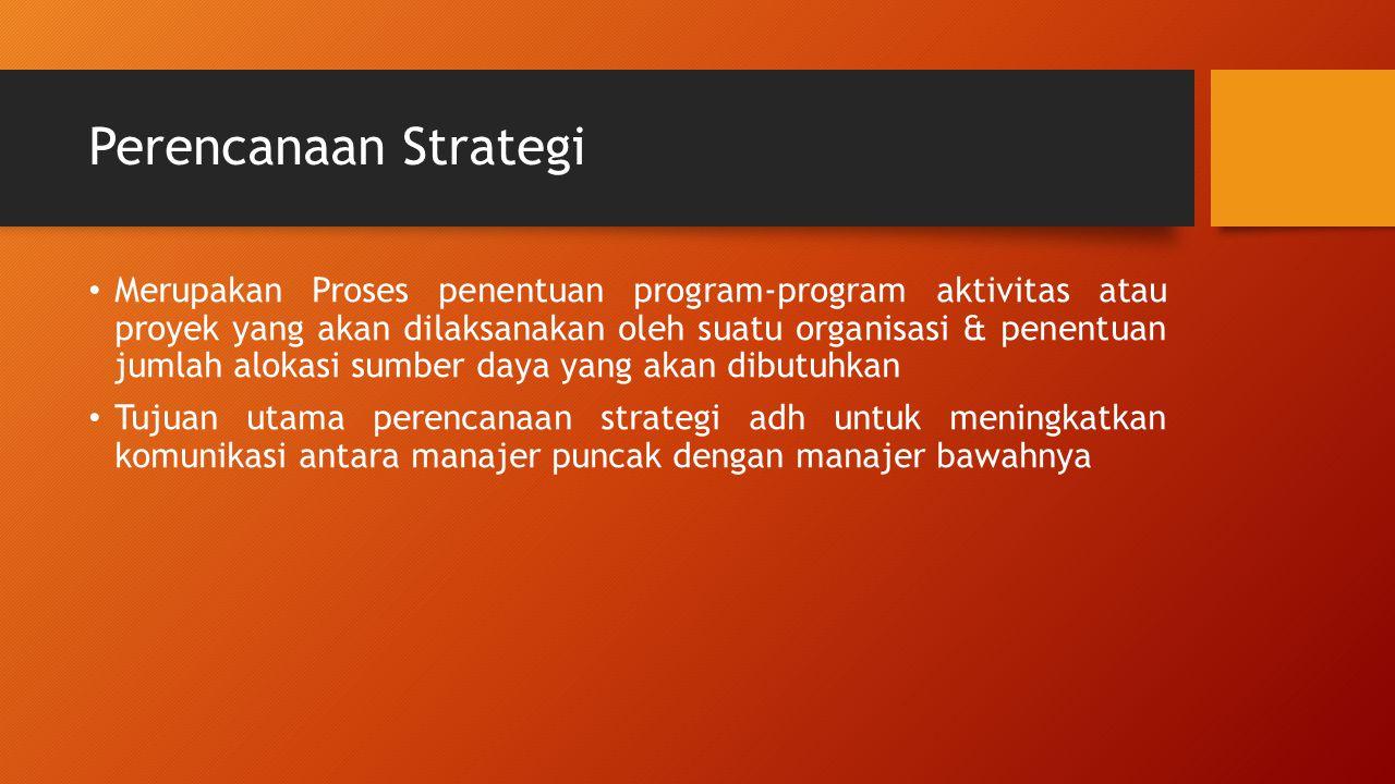 Perencanaan Strategi Merupakan Proses penentuan program-program aktivitas atau proyek yang akan dilaksanakan oleh suatu organisasi & penentuan jumlah alokasi sumber daya yang akan dibutuhkan Tujuan utama perencanaan strategi adh untuk meningkatkan komunikasi antara manajer puncak dengan manajer bawahnya