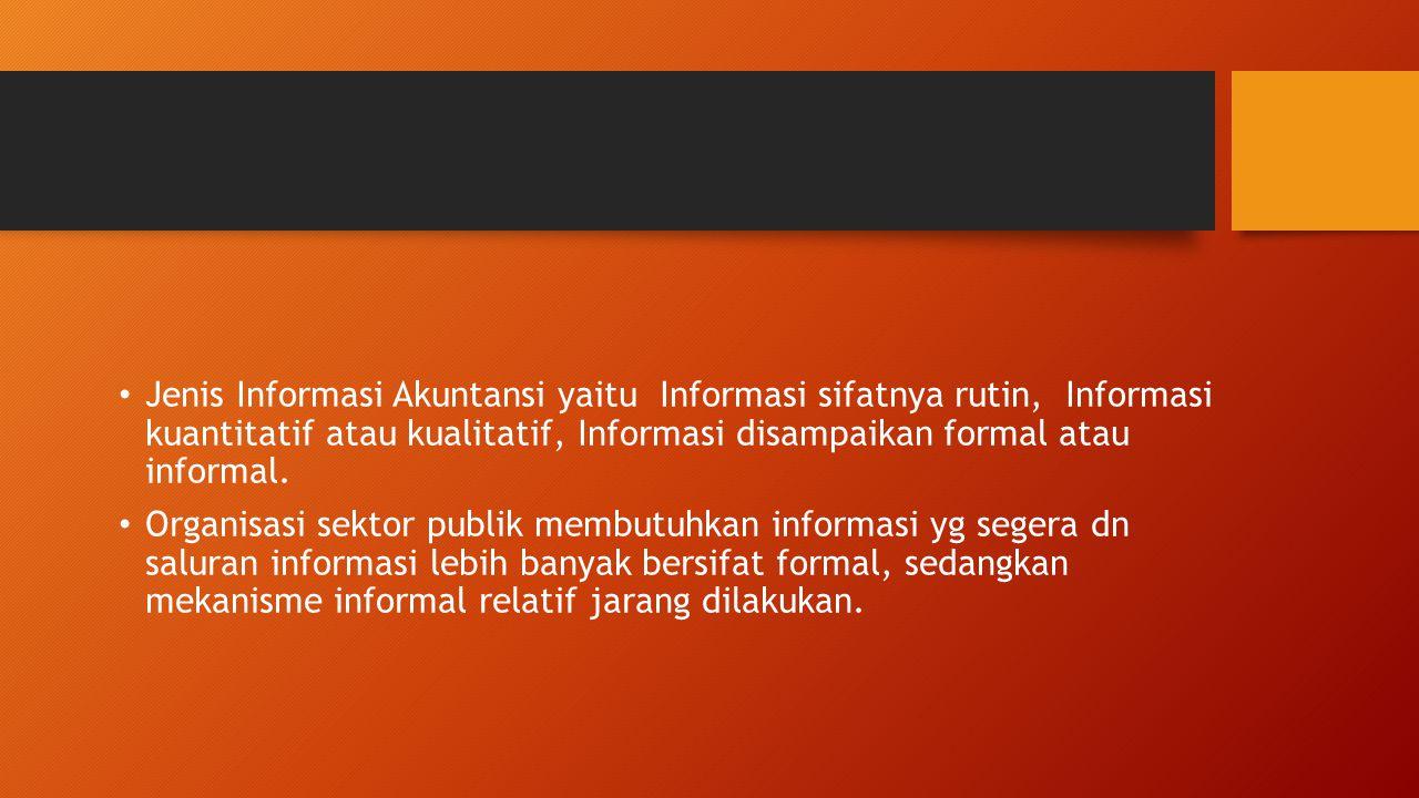 Jenis Informasi Akuntansi yaitu Informasi sifatnya rutin, Informasi kuantitatif atau kualitatif, Informasi disampaikan formal atau informal. Organisas