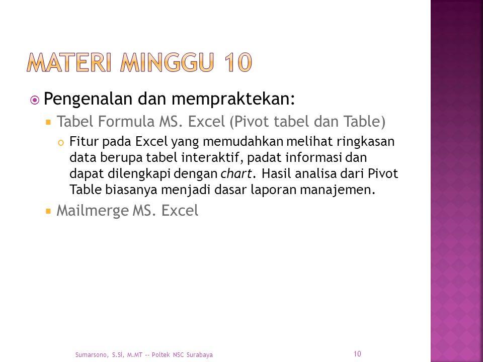  Pengenalan dan mempraktekan:  Tabel Formula MS. Excel (Pivot tabel dan Table) Fitur pada Excel yang memudahkan melihat ringkasan data berupa tabel