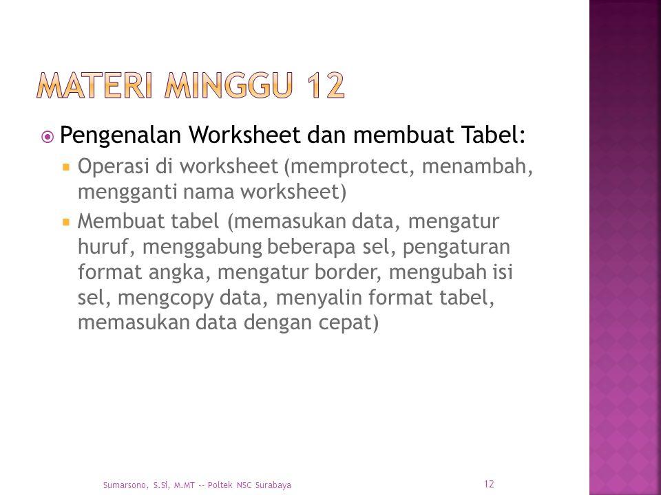  Pengenalan Worksheet dan membuat Tabel:  Operasi di worksheet (memprotect, menambah, mengganti nama worksheet)  Membuat tabel (memasukan data, men