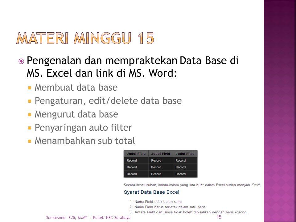  Pengenalan dan mempraktekan Data Base di MS. Excel dan link di MS. Word:  Membuat data base  Pengaturan, edit/delete data base  Mengurut data bas