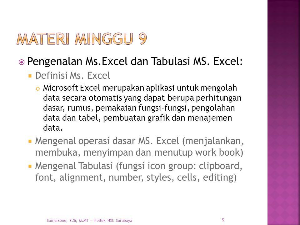  Pengenalan Ms.Excel dan Tabulasi MS. Excel:  Definisi Ms. Excel Microsoft Excel merupakan aplikasi untuk mengolah data secara otomatis yang dapat b