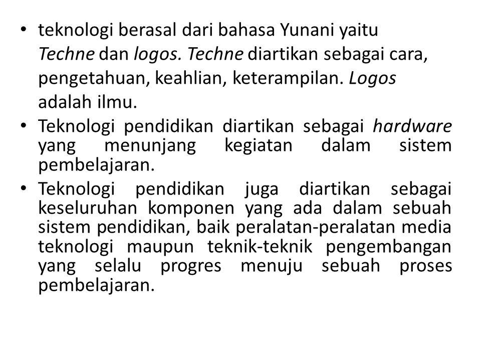 teknologi berasal dari bahasa Yunani yaitu Techne dan logos. Techne diartikan sebagai cara, pengetahuan, keahlian, keterampilan. Logos adalah ilmu. Te