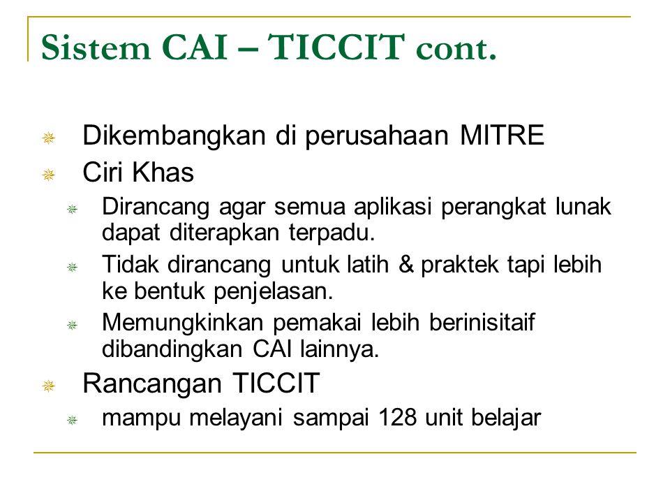 Sistem CAI – TICCIT cont.  Dikembangkan di perusahaan MITRE  Ciri Khas  Dirancang agar semua aplikasi perangkat lunak dapat diterapkan terpadu.  T