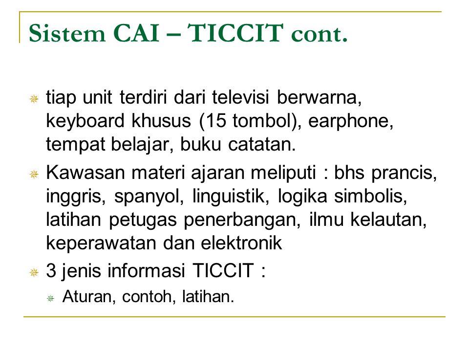 Sistem CAI – TICCIT cont.  tiap unit terdiri dari televisi berwarna, keyboard khusus (15 tombol), earphone, tempat belajar, buku catatan.  Kawasan m