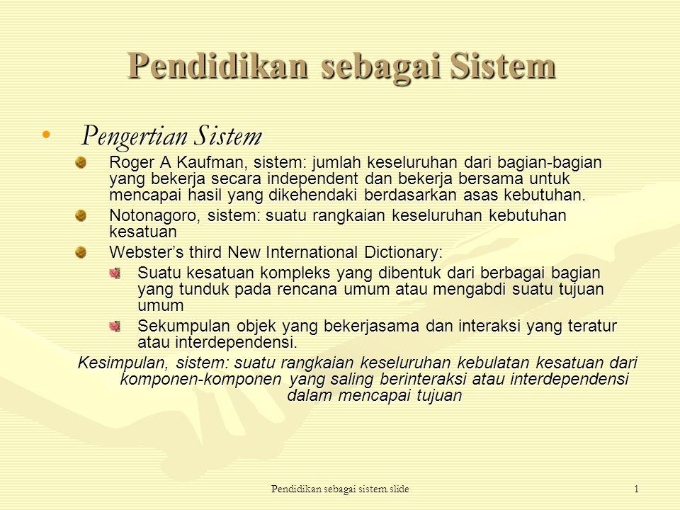 Pendidikan sebagai sistem.slide1 Pendidikan sebagai Sistem Pengertian SistemPengertian Sistem Roger A Kaufman, sistem: jumlah keseluruhan dari bagian-