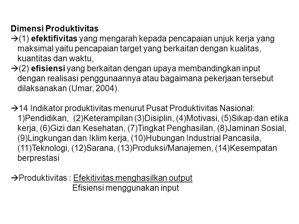 Dimensi Produktivitas  (1) efektifivitas yang mengarah kepada pencapaian unjuk kerja yang maksimal yaitu pencapaian target yang berkaitan dengan kual