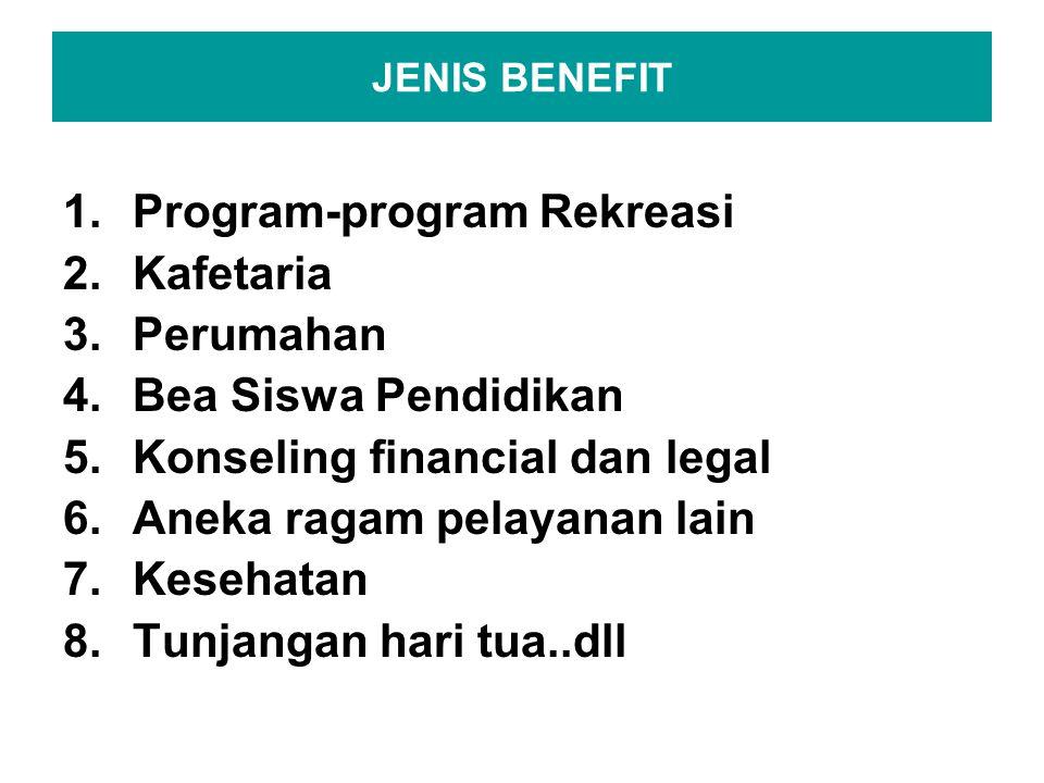 JENIS BENEFIT 1.Program-program Rekreasi 2.Kafetaria 3.Perumahan 4.Bea Siswa Pendidikan 5.Konseling financial dan legal 6.Aneka ragam pelayanan lain 7