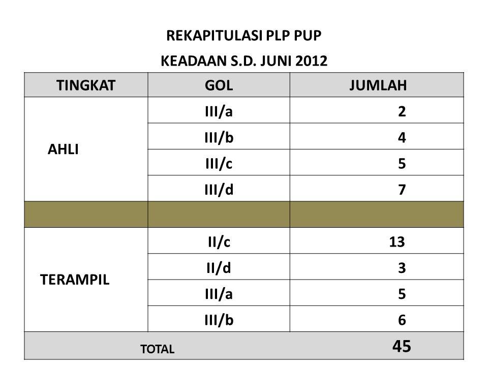 REKAPITULASI PLP PUP KEADAAN S.D. JUNI 2012 TINGKATGOL JUMLAH III/a 2 AHLI III/b 4 III/c 5 III/d 7 II/c 13 TERAMPIL II/d 3 III/a 5 III/b 6 TOTAL 45