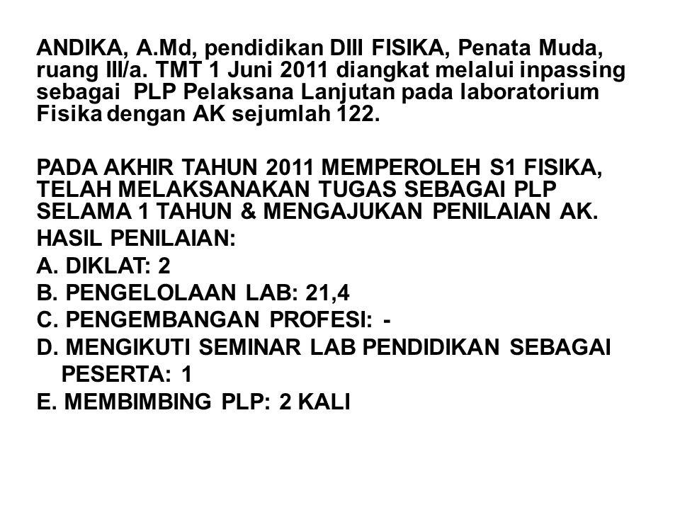 ANDIKA, A.Md, pendidikan DIII FISIKA, Penata Muda, ruang III/a. TMT 1 Juni 2011 diangkat melalui inpassing sebagai PLP Pelaksana Lanjutan pada laborat