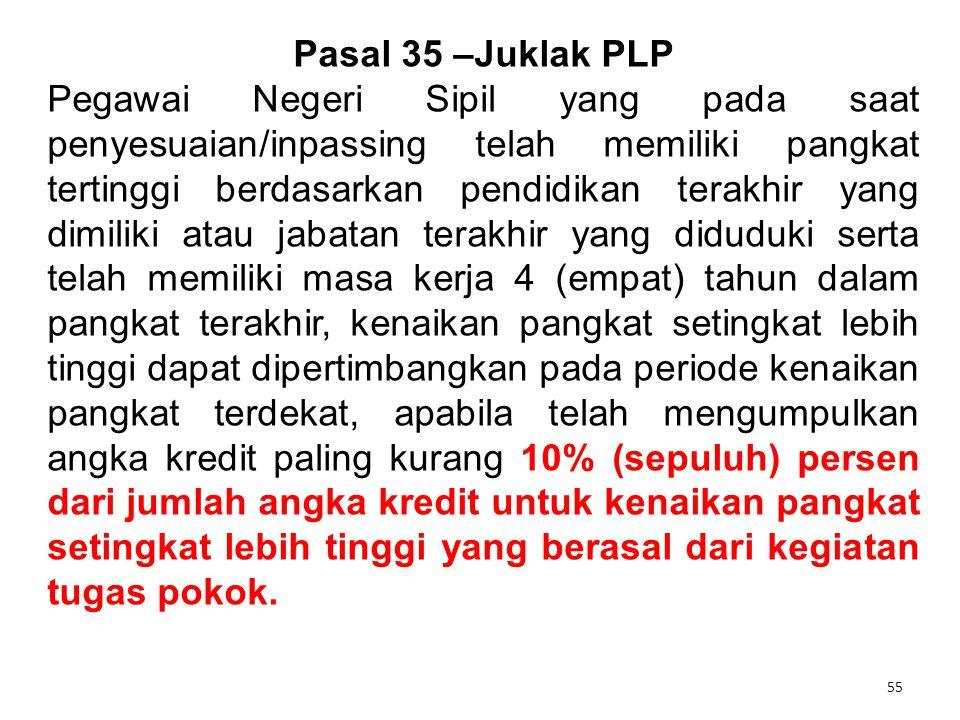 55 Pasal 35 –Juklak PLP Pegawai Negeri Sipil yang pada saat penyesuaian/inpassing telah memiliki pangkat tertinggi berdasarkan pendidikan terakhir yan