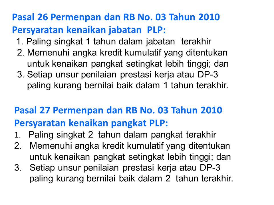 Pasal 27 Permenpan dan RB No. 03 Tahun 2010 Persyaratan kenaikan pangkat PLP: 1. Paling singkat 2 tahun dalam pangkat terakhir 2. Memenuhi angka kredi