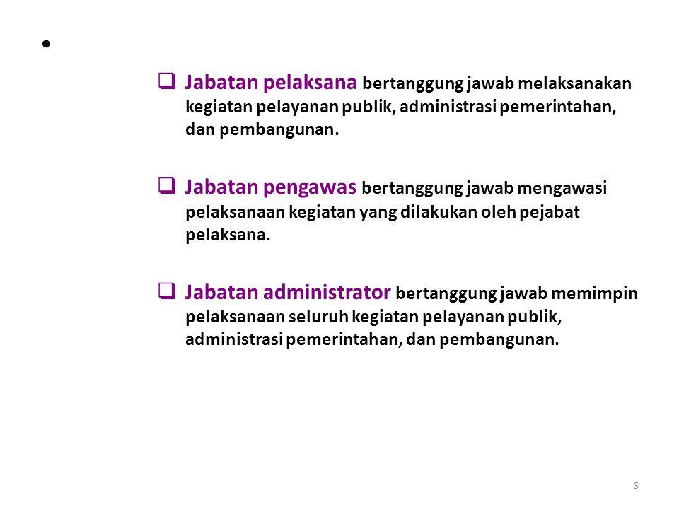 6  Jabatan pelaksana bertanggung jawab melaksanakan kegiatan pelayanan publik, administrasi pemerintahan, dan pembangunan.  Jabatan pengawas bertang
